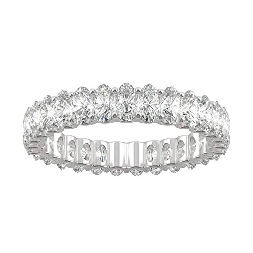 14K White Gold Moissanite by Charles & Colvard 4x2mm Oval Eternity Band-size 9,...