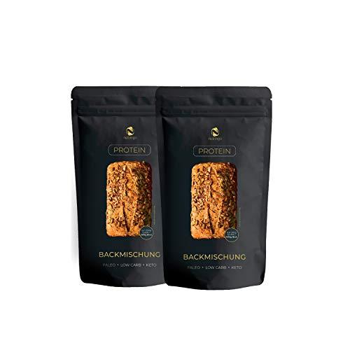 Seed Mix Eiweißbrot Backmischung 2x200 g. 20% Protein NEU! | für 1 kg Brot | Nur 4g. Kohlenhydrate | Ohne Getreide | Ohne Gluten | für Paleo, Keto, Low Carb Diät & Muskelaufbau | Starterpack
