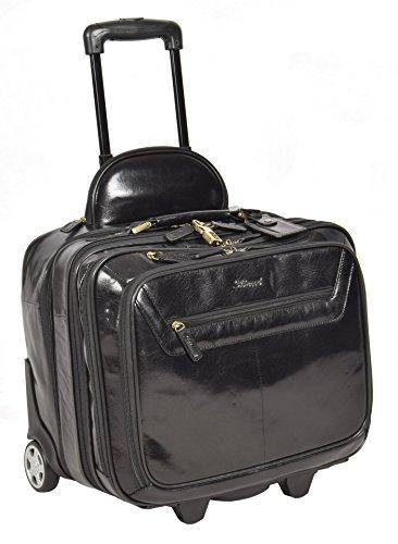 Echtes Schwarz Leder Pilotenkoffer Trolley Laptop Geschäft Reise Wochenende Kabine Tasche AL1
