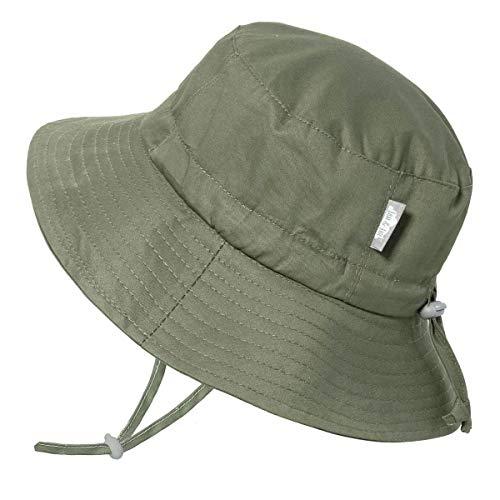 Jan & Jul Faltbar Baumwoll Fischerhut für Kleinkinder, UV-Schutz (L: 2-5 Jahre, Militär-Grün)