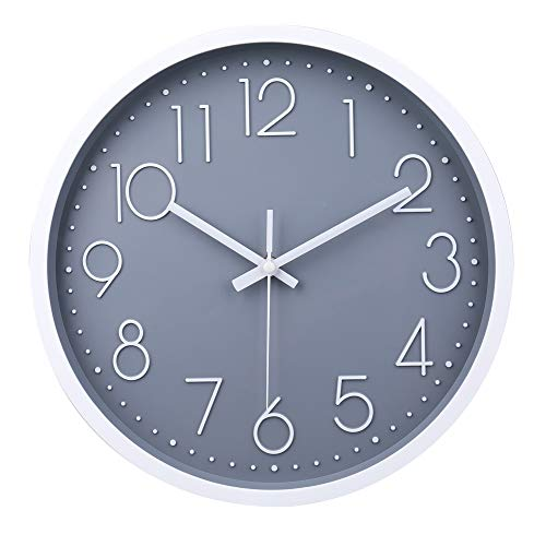 Reloj de Pared Moderno,Grandes Decorativos Silencioso Interior Reloj de Cuarzo de Cuarzo Redondo No-Ticking para Sala de Estar (Gris,12 Pulgadas, Ø: 30 cm)