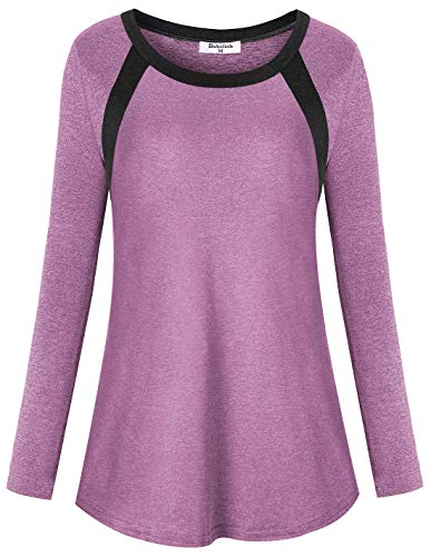obolink Athletic Wear for Women, Workout Tunics Ladies Yoga Tops Long Sleeve Petite Quick Dry Shirt Modest Running Gym Clothes Wicking Sweat Stretchy Fabric Athleisure Pilates T-Shirt PINK 2XL