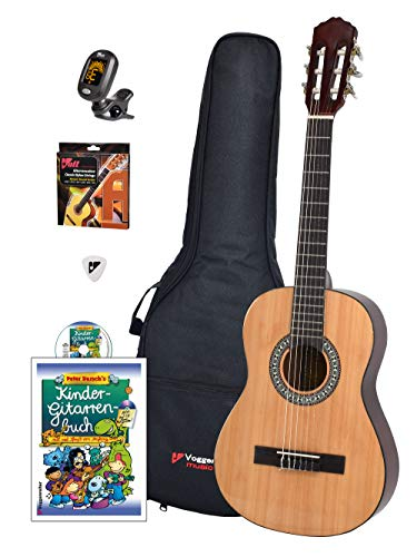 Voggy's Kindergitarren-Set 1/2 - Gitarre für Kinder ab 6 Jahren im Komplettset mit Zubehör auch geeignet...