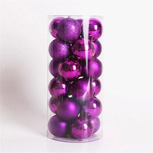 WINOMO Noël Boules Ornements pour Arbre Thème Décoratif Multicolor Exquis Decor Ballon 24pcs (violet)