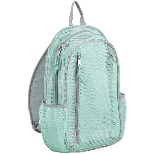 Eastsport Active Mesh Backpack with Padded Adjustable Straps, Mint/Soft Silver