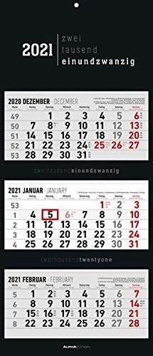 3-Monatskalender Black 2021 - Büro-Kalender 34,5x80 cm (geöffnet) - faltbar - mit Datumsschieber - Alpha Edition