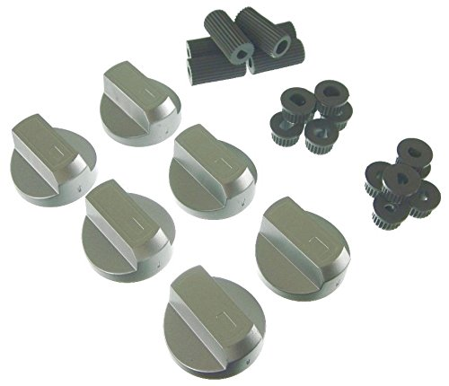 Ufixt Universal Silver Control Knobs for Ovens, Cookers and Hobs (Pack of 6)