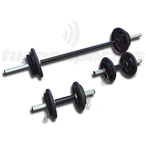 Kit Fitness 30Kg em Anilhas + 3 Barras Tubulares C/Presilhas