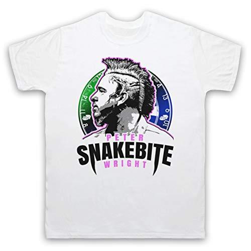 My Icon Art & Clothing Peter Wright Snakebite Darts Tribute Scottish Champion Player Herren T-Shirt, Weiß, Small