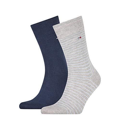 Tommy Hilfiger Mens Small Stripe Men's (2 Pack) Socks, Light Grey Melange, 47/49