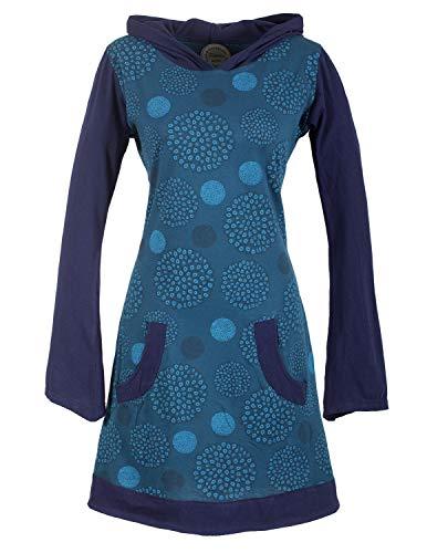 Vishes - Alternative Bekleidung - Langarm Damen Hippie Baumwollkleid mit Zipfelkapuze und Taschen türkis 46