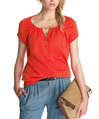 ESPRIT Damen Bluse 063EE1F001, Gr. 42 (XL), Rot (610 hot Coral)
