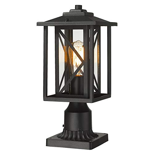 Outdoor Post Light Fixture Exterior Pole Street Lantern with 3 inch Pier Mount Base, KAUEN Outdoor Post Lamp with Clear Glass Shade for Garden Patio Pathway,Black