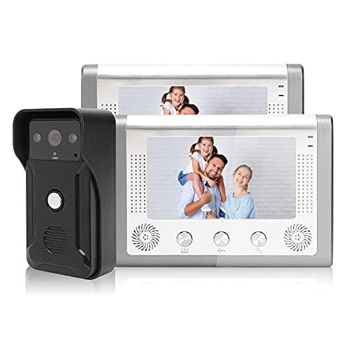 Sistema de timbre de videoportero con intercomunicador con 1 cámara de visión nocturna y 2 monitores de 7 pulgadas, monitoreo de soporte, desbloqueo, viene con 7 tarjetas de identificación(UE)