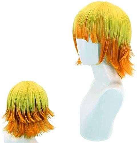 Hermosa peluca larga ondulada Excelente peluca de peluca de peluca de peluca, pelucas de anime cosplay para Agatsuma Zenitsu, ombre corto de ombre amarillo a naranja, niña, niña, anime, espectáculo, p
