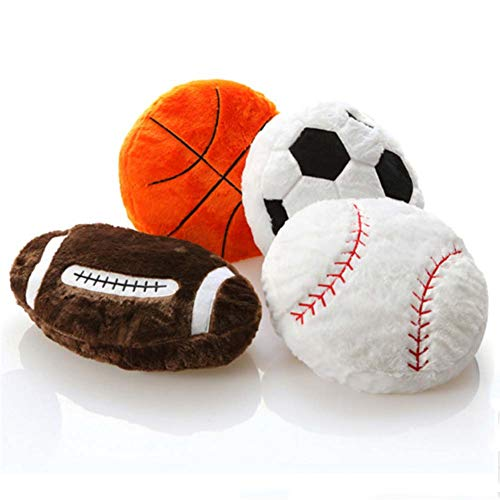 Homieco Stuffed Plush Pillow Toys Soft Fluffy Baby Doll Sport Diy Basketball Cushion Pillows Gifts for Kids