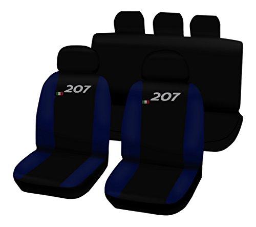 Lupex Shop 207.N.BS Housses de sièges Auto Bicolores Noir/Bleu Marine