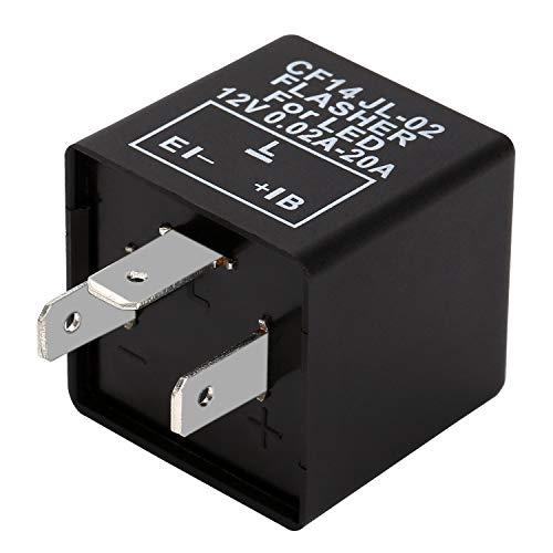 Yizhet 3Pin CF14 JL-02 Moto Relé Intermitencia 12V 0.02A-20A Relé Flash LED Indicador Rele para LED Indicador de Señal Resistor Flasher Relay Motocicleta(3Pin)