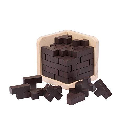 Cubo Rompecabezas 3D de Madera del Enigma Juego Puzle - IQ Juguete Educativo - 54 piezas de madera rompecabezas de rompecabezas en forma de T rompecabezas de juguete