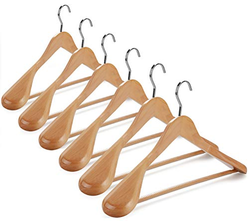 TOPIA HANGER Set of 6 Luxury Natural Wooden Coat Hangers Premium Wood Suit Hangers Glossy Finish with Extra-Wide Shoulder Thicker Chrome Hooks Anti-Slip Bar CT02N