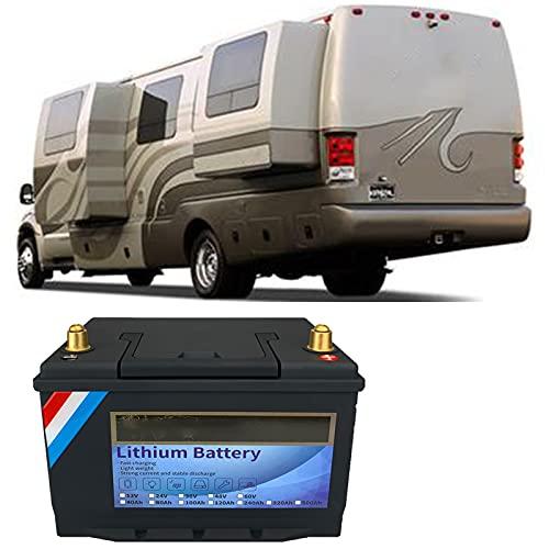 NCBH Batería de Ciclo Profundo de fosfato de Hierro y Litio LiFePO4 de 12 V y 120 Ah, BMS Incorporado, con Interruptor de Encendido LED, Aplicaciones solares,Fuera de la Red,12v40ah