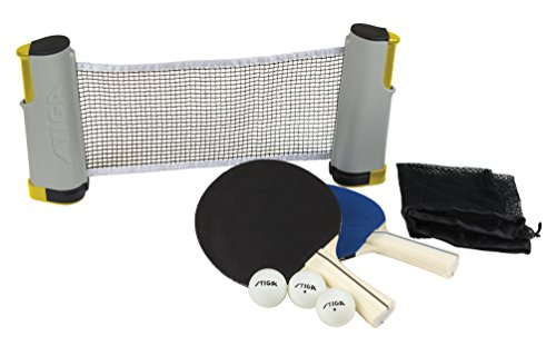 STIGA Retractable Take Anywhere Table Tennis Set Includes Net, Two Paddles, Three Balls, and Storage Bag