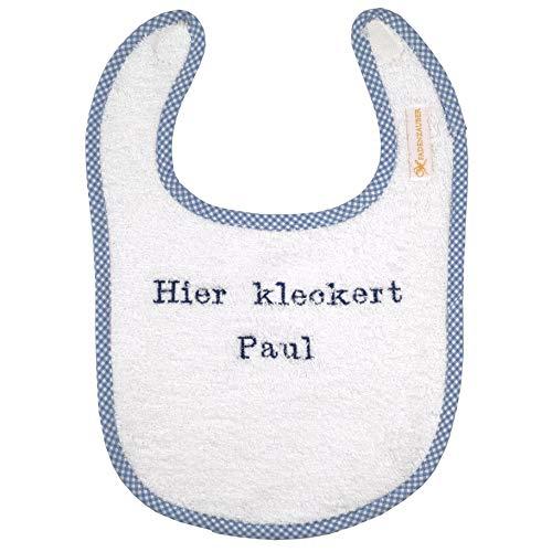 FADENZAUBER Baby Lätzchen mit Spruch personalisierbar - Hier kleckert