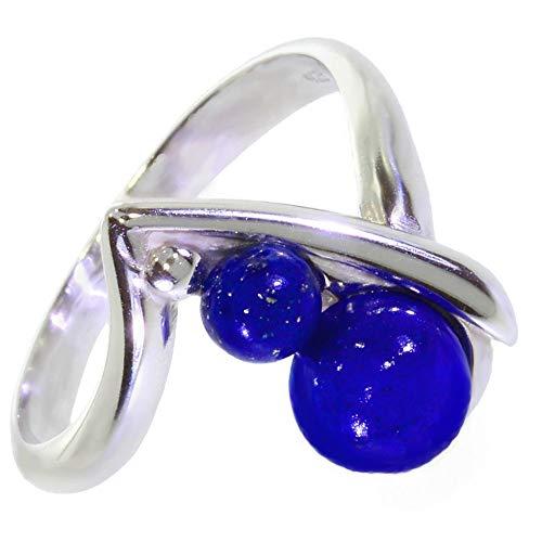 ARTIPOL Ring mit echter Lapis Lazuli europeische Produktion franz.Stil - Schmuck silbern-rhodiniert - Ref 30-15 - größe 49 (15.6)