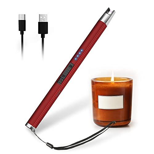 HOTERB Encendedor Electrico,Encendedor Velas con Acollador Correa Mechero Cocina Electrico USB-C Chargeable,Sin Llama a Prueba De Viento y Pantalla LED Mechero Electrico para Barbecue,Estufas de Gas