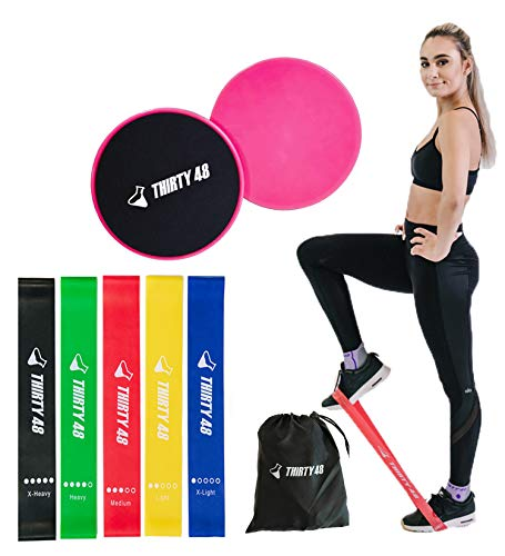Thirty48 Gliding Discs Core Sliders and 5 Exercise Resistance Bands   Strength, Stability, and Crossfit Training for Home, Gym, Travel   User Guide & Carry Bag (Resistance Bands + Core Slider(Pink))