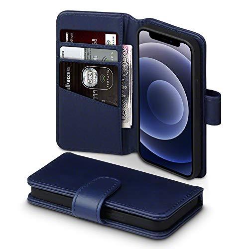 TERRAPIN, Kompatibel mit iPhone 12 Mini Hülle, [ECHT Leder] Brieftasche Hülle Tasche mit Standfunktion Kartenfächer & Bargeld - Blau