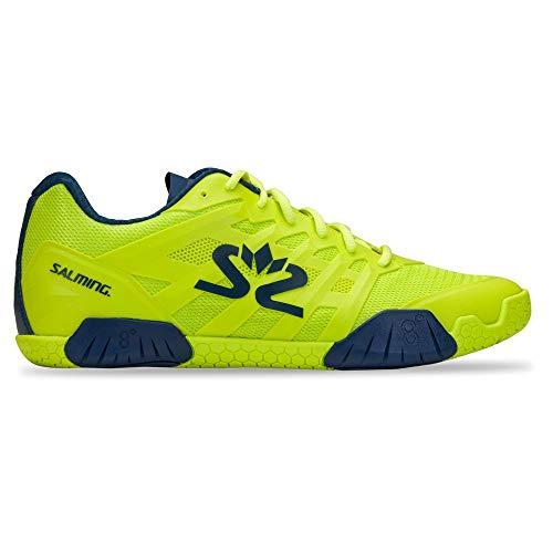Salming Hawk 2 Indoor Handballschuhe Hallenschuhe neon gelb/blau 1230085-1604, Schuhgröße:42 EU