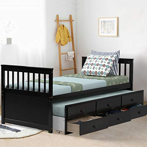 Giantex Twin Captain's Bed with Trundle Bed, Wood Storage Daybed with 3 Storage Drawers, Bunk Bed Alternative, No Box Spring Needed, Wooden Platform Bed Great for Kids Guests Sleepovers (Espresso)
