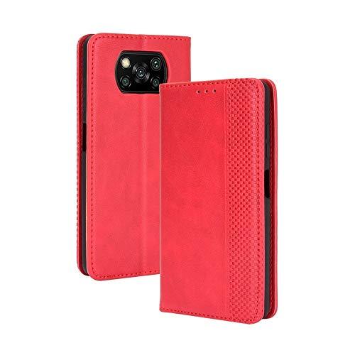 Ebogor für. Xiaomi Poco X3 NFC-Hülle, magnetische Schnalle Retro Crazy Horse Textur, horizontales Flip Leder Schutzhülle mit Halter & Kartenschlitze & Bilderrahmen (schwarz) (Color : Red)