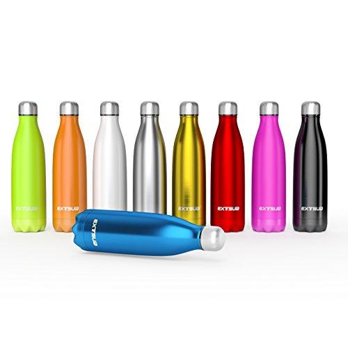 EXTSUD 500ml Bottiglia Termica in Acciaio Inox Borraccia Termos Mantiene 24 Ore Freddo 12 Ore Caldo Chiusura Ermetica Senza BPA Bottiglietta Sottovuoto per Outdoor Sport Inverno/Estate (Nero)