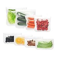 再利用可能なストレージバッグ 5パック 極厚 漏れ防止 ダブルジップロック 冷凍庫バッグ PEVAサンドイッチバッグ スナックバッグ 食品 メイクアップ 文房具整理用