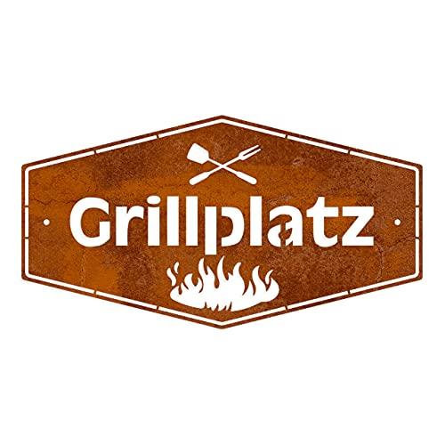 Rerum & Consilium Schild Grillplatz in Edelrost-Optik I Made in Germany I klein I 277 g I 18 x 33 cm I Stahl