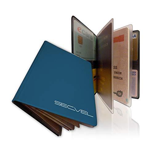 TÜV geprüfte und patentierte Schutzhülle Datenschutzhülle für Ausweis und 4 Karten | Lagoon | RFID NFC Blocker | Magnetfeld Abschirmung | Störsender für Reisepass, Personalausweis, Kreditkarte