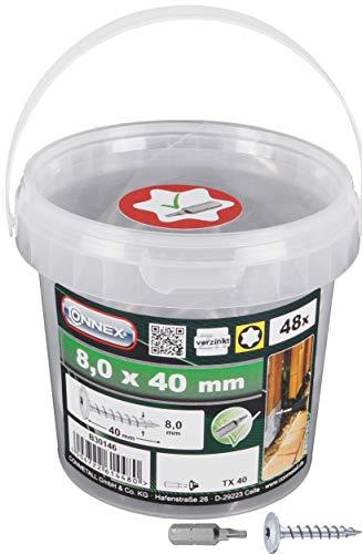 Connex Pfostenschrauben 8,0 x 40 mm - 48 Stück - TX Torx-Antrieb - Vollgewinde - Zur Befestigung von Beschlägen & Verbindern - Inkl. Bit / Pfostenverbinder-Schraube / Schrauben-Eimer / B30146