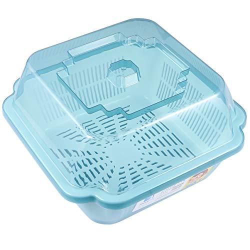 Hemoton Cesta de Secado de Platos Fregadero de Plástico Escurridor de Platos Estante para Platos Lavabo Cuenca para Fregadero de Cocina Mostrador en Casa Azul