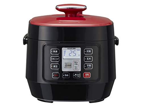コイズミ マイコン電気圧力鍋 1.6L 5種類自動メニュー ワンタッチ 51品搭載レシピブック付き レッド KSC-3501/R