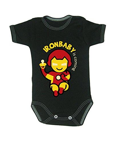 Couleur Mode Ironman bodies bébé 0–24 mois noir 3-6 months, 68cm