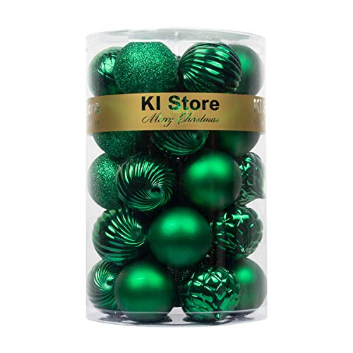 KI Store Christmas Balls Green Shatterproof Christmas Tree Ball Ornaments Decorations for Xmas Trees Wedding Party Home Decor 2.36-Inch Hooks Included