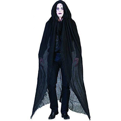Lively Moments Déguisement Halloween Lumpenumhang/Horrorcape/Découpe «Arrachée» - Cape avec Capuche/ Vampircape/ Cape Pitch Black