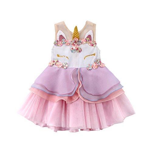 Vestido de Unicornio para Niña Vestido Novia Princesa de Tul con Flores...