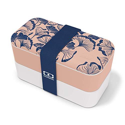 monbento - MB Original Graphic Ginkgo - Japanische Muster - Bento Box Made in France rosa - Brotdose mit 2 Fächer - Lunch Box perfekt für Büro/Meal prep/Schule