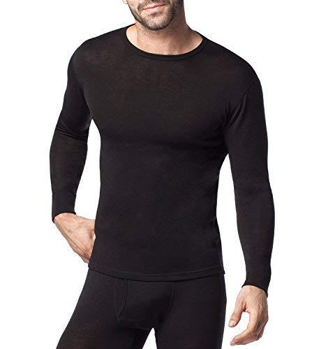 (ラパサ)Lapasa メンズ肌着 長袖シャツだけメリノウール素材 防寒 保温 紳士インナー M29 ブラック 日本XL