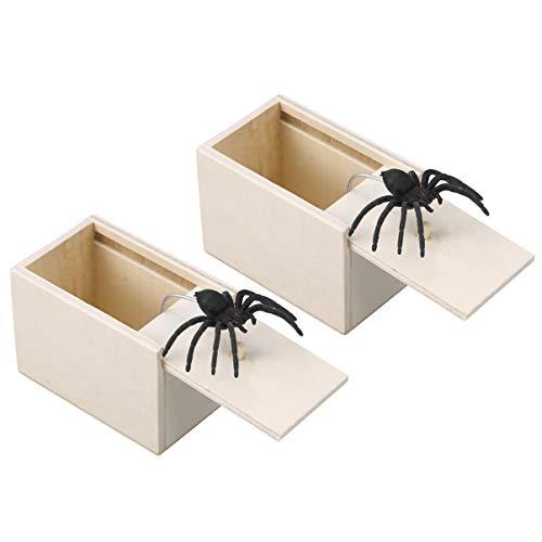 Amosfun Halloween Überraschung Box mit Spinne Fall Holz Streiche erschrecken lustige heikele Requisiten gefälschte Spinne Streich für April Fool Tag Holzkiste Spielzeug Scherz Kasten Karnevals