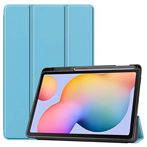 NUPO Hülle für Samsung Galaxy Tab S6 Lite 10.4 2020, Schutzhülle mit Stifthalter PU Lederhülle mit Standfunktion, Sleep Wake Up Funktion Kompatibel Galaxy Tab S6 Lite 10.4 SM-P610/P615, Himmelblau