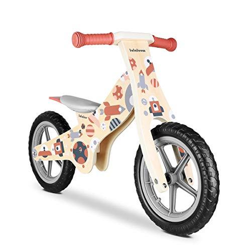 Lalaloom COSMO BIKE - Bicicleta sin pedales de madera para niños de 2 años (diseño espacio, andador para bebe, correpasillos para equilibrio, sillín regulable con ruedas de goma EVA), color Rojo